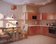 Persikų spalva virtuvės interjere